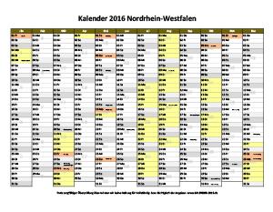 Kalender 2016 NRW zum Ausdrucken
